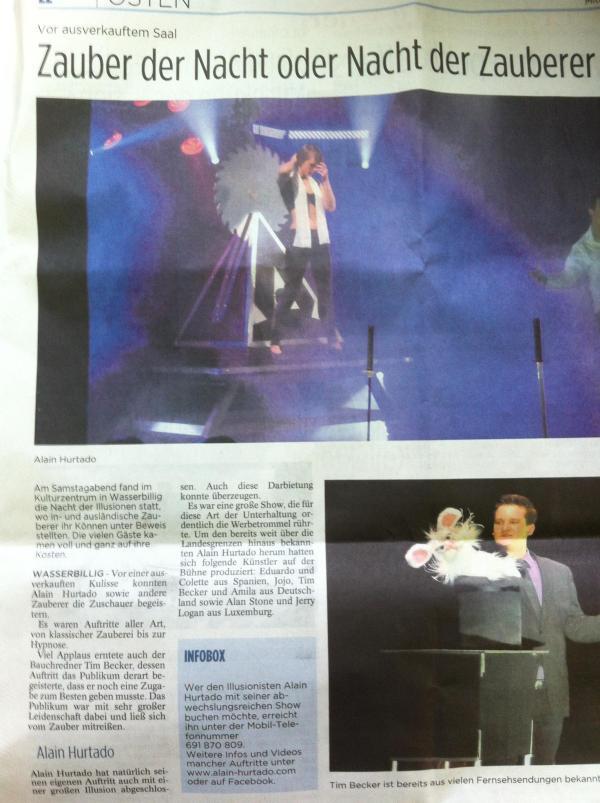 Zeitungsbericht von der Show am 14.04. in Wasserbillig / Luxemburg